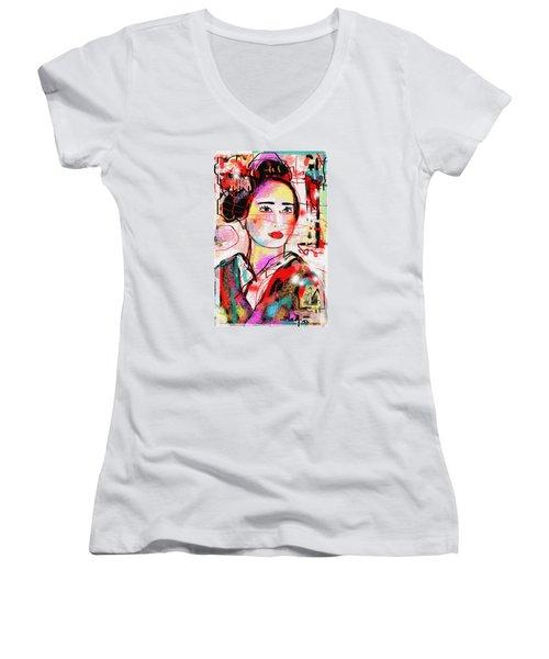 Third Generation  Women's V-Neck T-Shirt (Junior Cut) by Sladjana Lazarevic