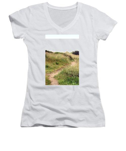 This Way To The Beach Women's V-Neck T-Shirt (Junior Cut) by Joseph Skompski