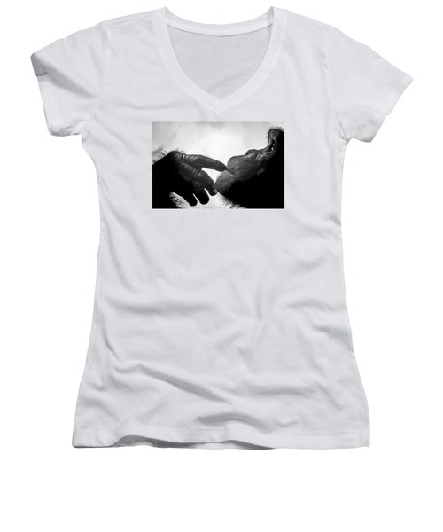 Thoughtful Chimpanzee Women's V-Neck T-Shirt (Junior Cut) by Marius Sipa