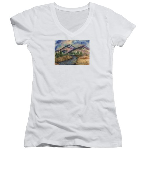 Thoughts Of Glacier Women's V-Neck T-Shirt (Junior Cut) by Annette Berglund