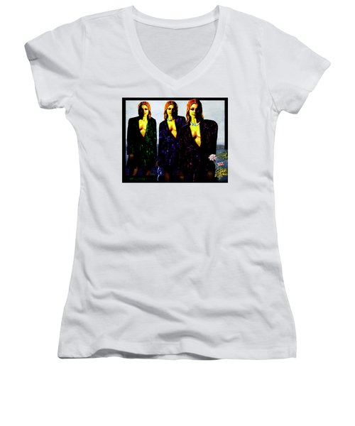 Three  Beautiful Triplet Ladies Women's V-Neck (Athletic Fit)