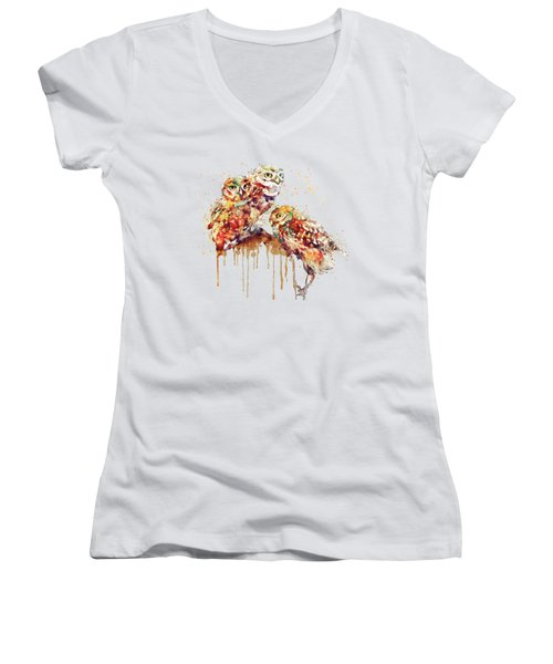 Three Cute Owls Watercolor Women's V-Neck (Athletic Fit)