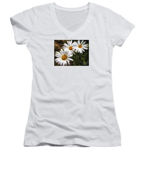 Women's V-Neck T-Shirt (Junior Cut) featuring the photograph Three Flowers  ... by Chuck Caramella