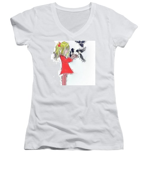 Three For A Girl - Work In Women's V-Neck T-Shirt (Junior Cut) by John Edwards