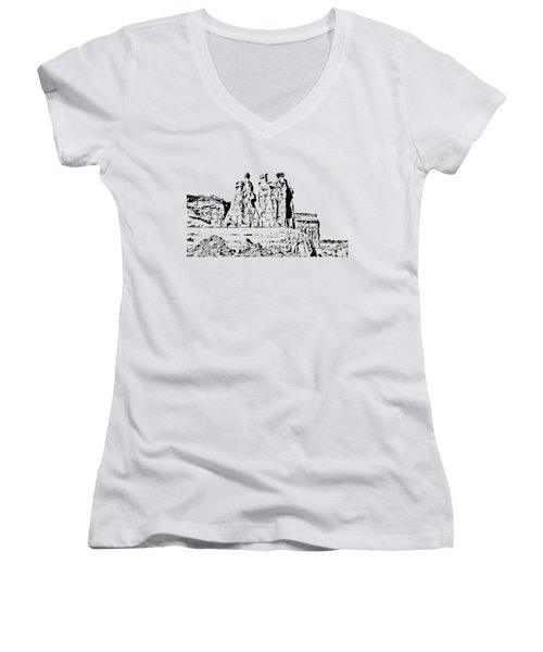 Three Gossips Drawing Women's V-Neck