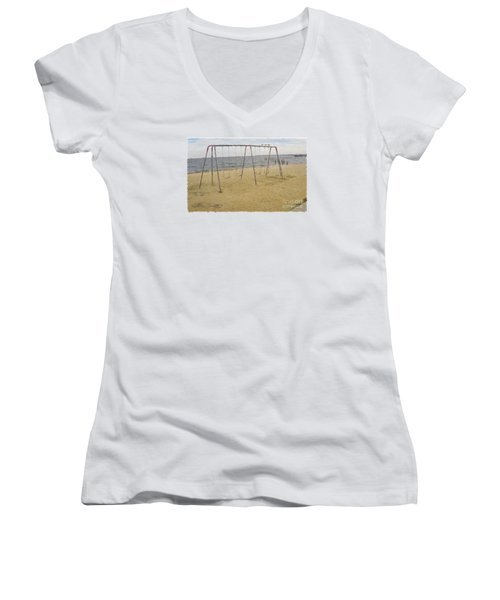 Women's V-Neck T-Shirt (Junior Cut) featuring the photograph Three Gulls And A Swing Set by Melissa Messick
