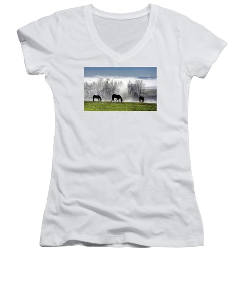 Three Horse Morning Women's V-Neck