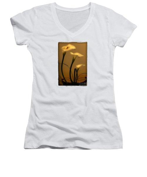 Women's V-Neck T-Shirt (Junior Cut) featuring the photograph Three Lilies by Linda Olsen