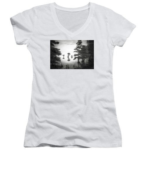 Women's V-Neck T-Shirt (Junior Cut) featuring the photograph Three Little Brothers by Eduard Moldoveanu