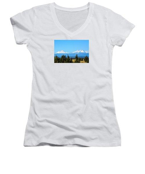 Three Sisters In The Fall Women's V-Neck T-Shirt (Junior Cut) by Linda Larson
