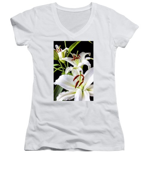 Three White Lilies Women's V-Neck (Athletic Fit)