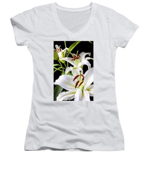 Three White Lilies Women's V-Neck