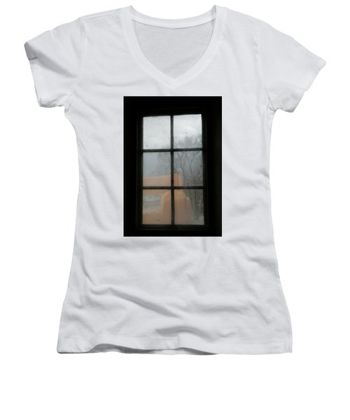Women's V-Neck T-Shirt (Junior Cut) featuring the photograph Through A Museum Window by Marilyn Hunt