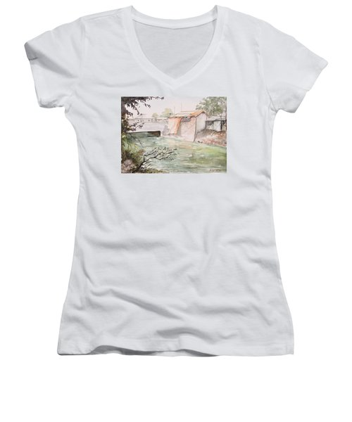 Through The Canal  Women's V-Neck T-Shirt