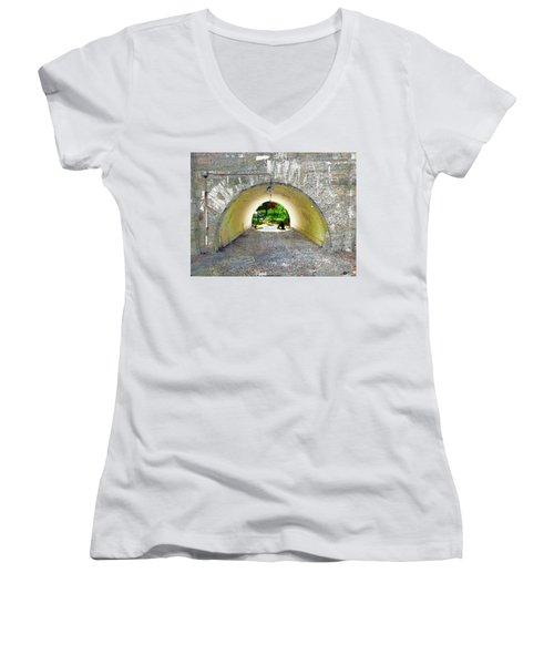 Women's V-Neck T-Shirt (Junior Cut) featuring the mixed media Through by Tony Rubino