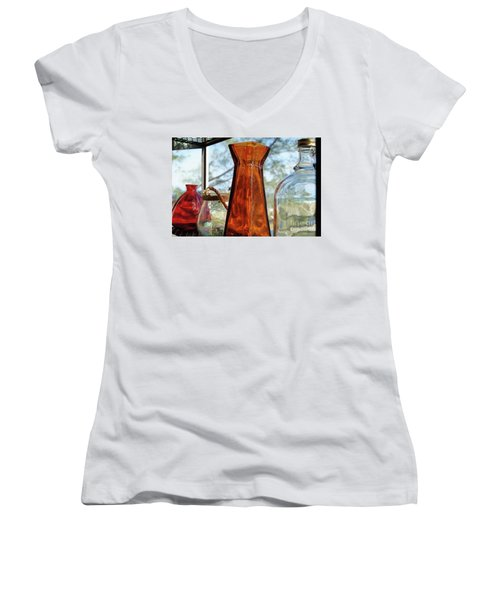 Thru The Looking Glass 1 Women's V-Neck T-Shirt (Junior Cut) by Megan Cohen
