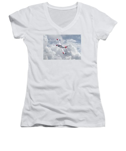 Women's V-Neck T-Shirt (Junior Cut) featuring the photograph Thunderbirds - T33 by Pat Speirs