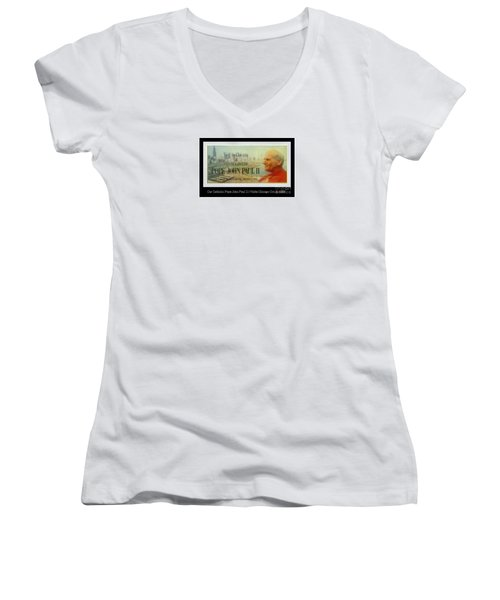 Women's V-Neck T-Shirt (Junior Cut) featuring the photograph Ticket To Pope John Paul In Chicago 1979 by Sherri  Of Palm Springs