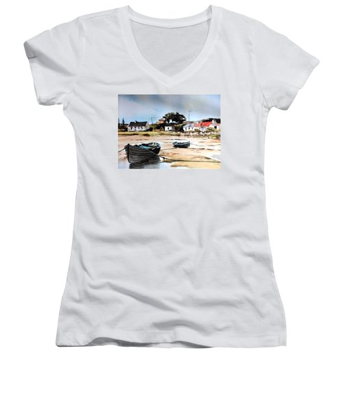 Tide Out In Erlak Roundstone Galway Women's V-Neck T-Shirt
