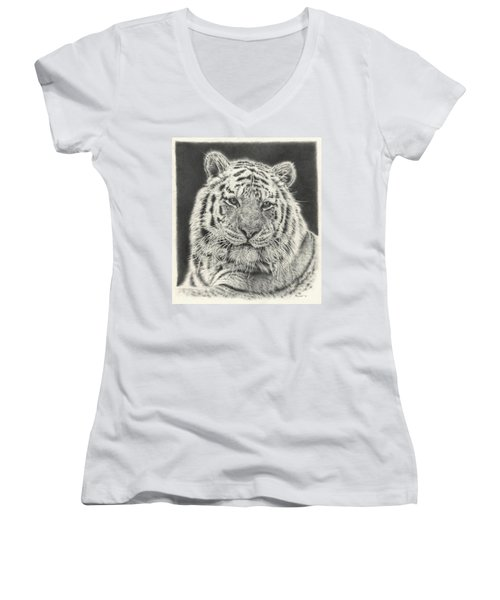 Tiger Drawing Women's V-Neck
