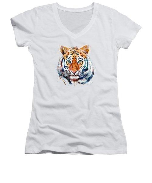 Tiger Head Watercolor Women's V-Neck T-Shirt