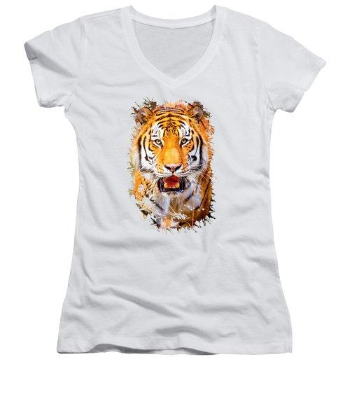 Tiger On The Hunt Women's V-Neck