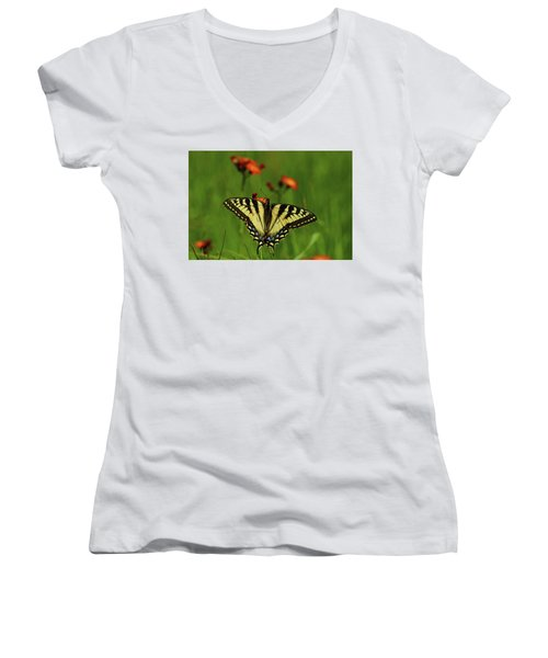 Tiger Swallowtail Butterfly Women's V-Neck T-Shirt (Junior Cut) by Nancy Landry