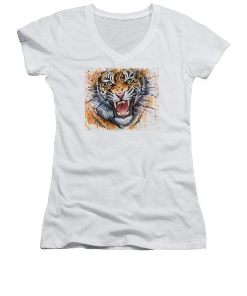 Tiger Watercolor Portrait Women's V-Neck T-Shirt (Junior Cut) by Olga Shvartsur