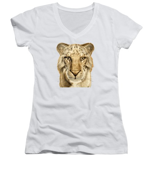 Women's V-Neck T-Shirt (Junior Cut) featuring the painting Tigers by Methune Hively