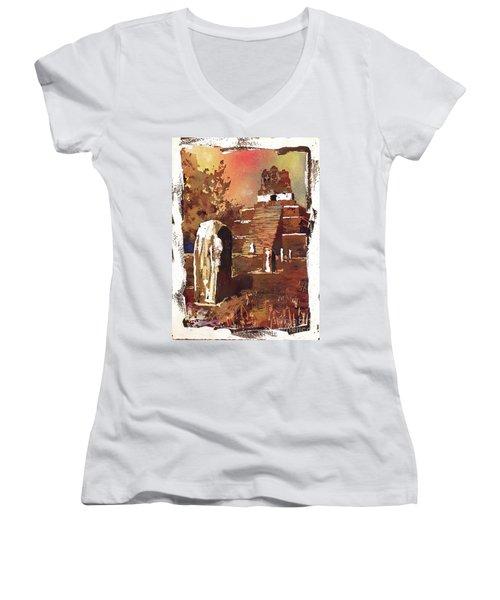 Women's V-Neck T-Shirt (Junior Cut) featuring the painting Tikal Mayan Ruins- Guatemala by Ryan Fox