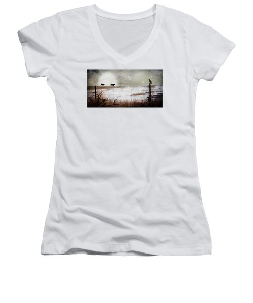 Women's V-Neck T-Shirt (Junior Cut) featuring the photograph 'til The Cows Come Home by Theresa Tahara
