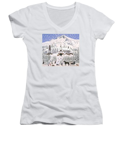 Women's V-Neck T-Shirt (Junior Cut) featuring the painting Timberline Lodge by Jennifer Lake