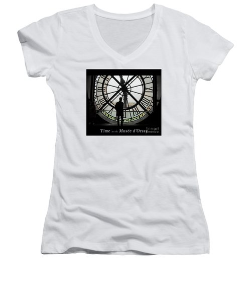 Time At The Musee D'orsay Women's V-Neck T-Shirt (Junior Cut) by Felipe Adan Lerma
