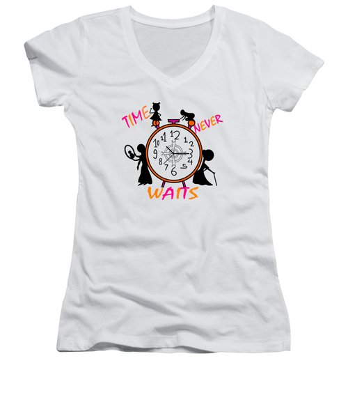 Time Never Waits Women's V-Neck T-Shirt