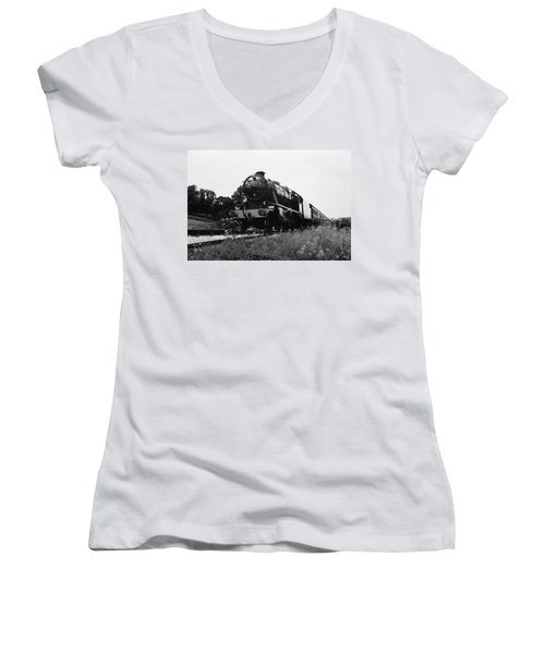Time Travel By Steam B/w Women's V-Neck T-Shirt (Junior Cut) by Martin Howard