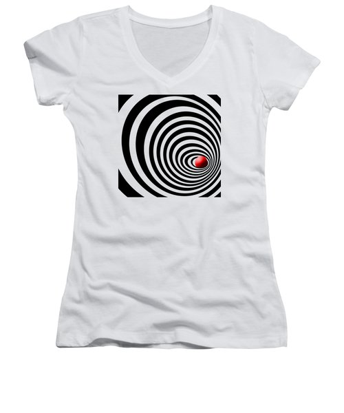 Time Tunnel Op Art Women's V-Neck T-Shirt (Junior Cut) by Methune Hively