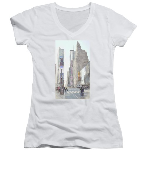 Times Square Street Scene Women's V-Neck (Athletic Fit)