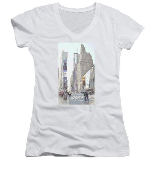 Times Square Street Scene Women's V-Neck (Athletic Fit)