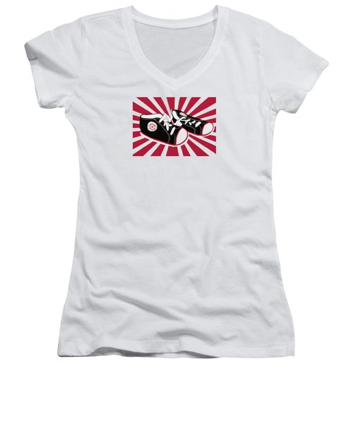 Tiny Feet Women's V-Neck T-Shirt (Junior Cut) by Priscilla Wolfe