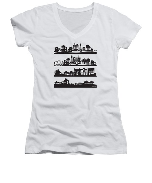 Tinytown Stacked Women's V-Neck