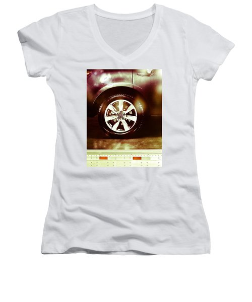 Tire Under The Moonlight Color Women's V-Neck (Athletic Fit)