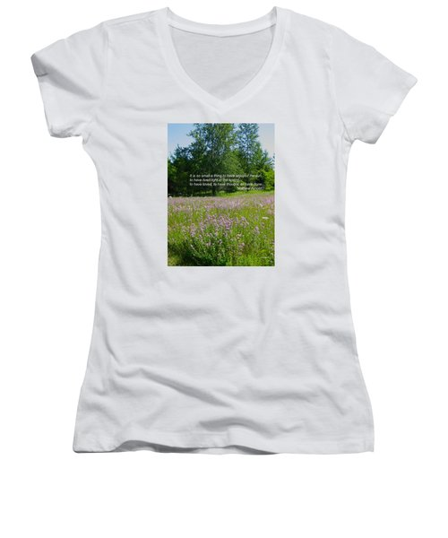To Live Light In The Spring Women's V-Neck T-Shirt