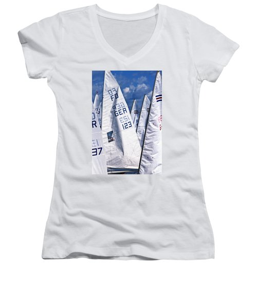 Women's V-Neck featuring the photograph To Sea - To Sea  by Heiko Koehrer-Wagner