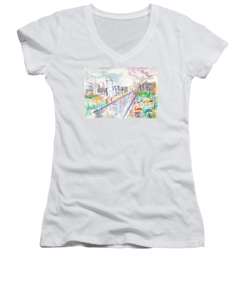 Women's V-Neck T-Shirt (Junior Cut) featuring the painting To The Wet City by Mary Armstrong