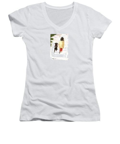 Together - Black Labrador And Woman Walking Women's V-Neck T-Shirt