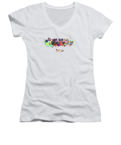 Tokyo V2 Skyline In Watercolor Women's V-Neck T-Shirt (Junior Cut) by Pablo Romero