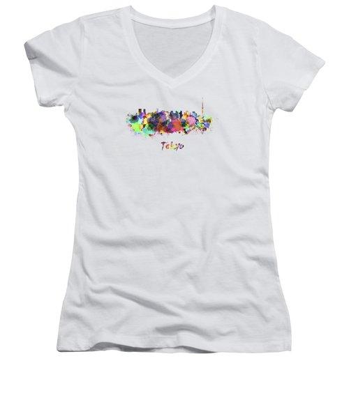 Tokyo V2 Skyline In Watercolor Women's V-Neck T-Shirt