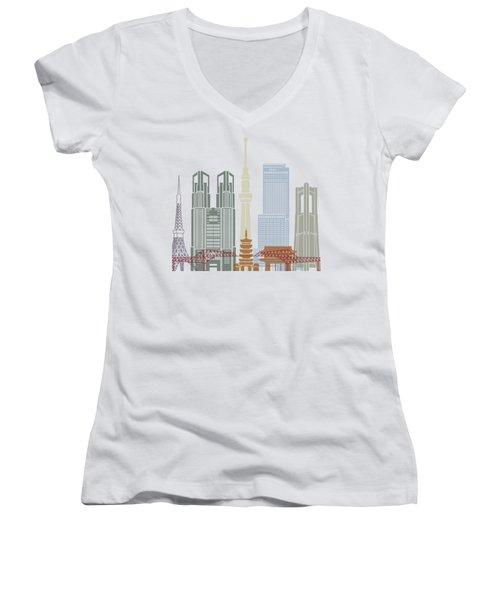 Tokyo V2 Skyline Poster Women's V-Neck T-Shirt (Junior Cut) by Pablo Romero