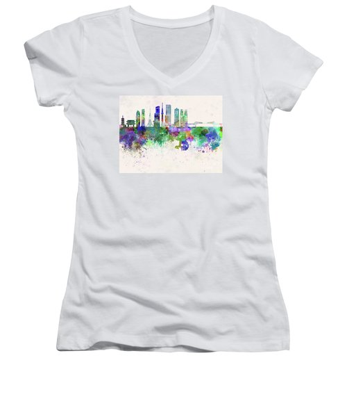 Tokyo V3 Skyline In Watercolor Background Women's V-Neck T-Shirt (Junior Cut) by Pablo Romero