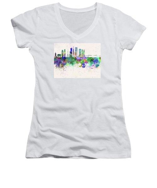Tokyo V3 Skyline In Watercolor Background Women's V-Neck T-Shirt (Junior Cut) by Pablo Romero